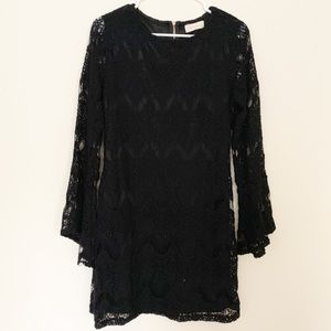 Altar'd State Black Lace Bell Sleeve Dress